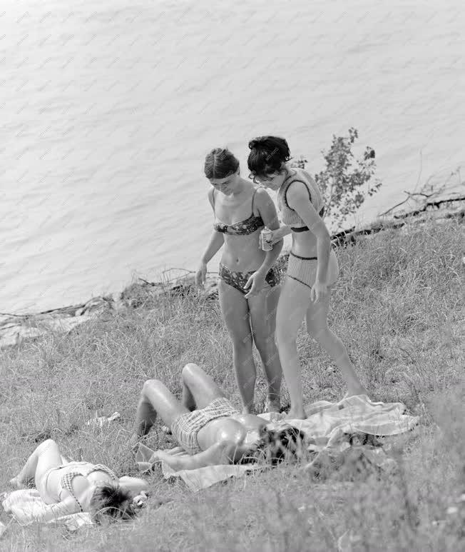 Életkép - Napfürdőző lányok a Duna-parton