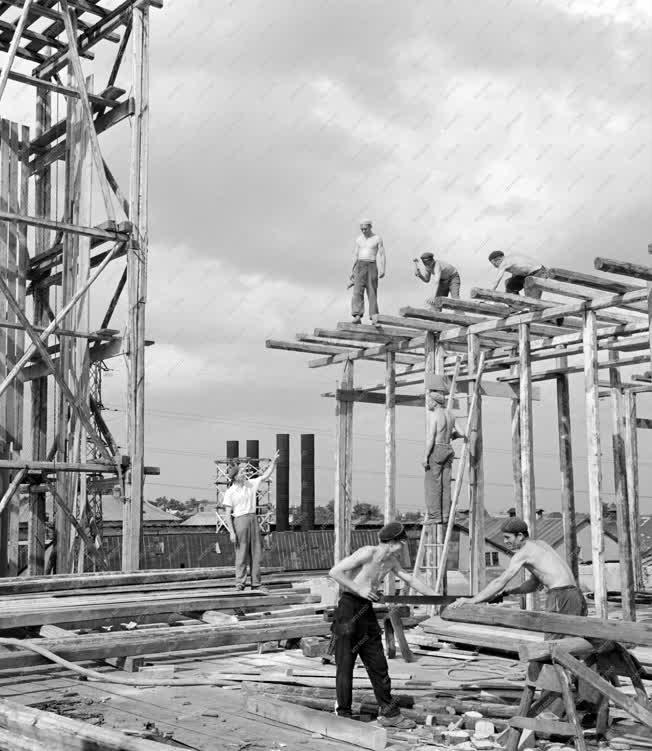 Ipar - Építkezés - Ácsmunkák a cukorgyári építkezésen