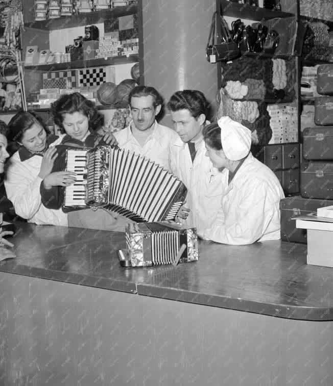 Kereskedelem - Harmonikapróba a vegyesboltban