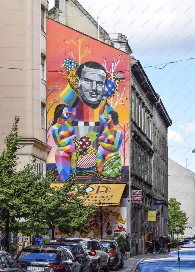 Városkép - Budapest - Tűzfalfestés