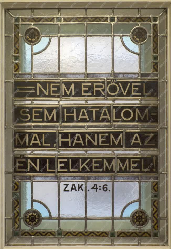 Műalkotás - Budapest - A Kálvin terem ólomüveg-ablaka