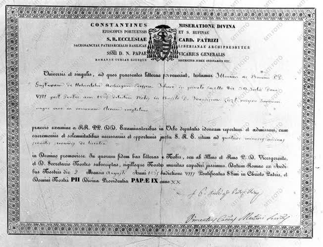 Kultúra - Liszt Ferenc papi kinevezési okmánya