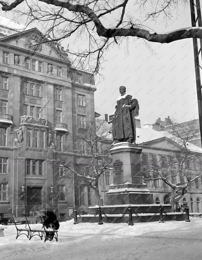 Városkép - A behavazott József nádor szobor