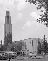 Városkép - Budapest - Szűz Mária bronzszobor és díszkút