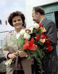 Belpolitika - Kádár János és felesége a Virágkiállításon