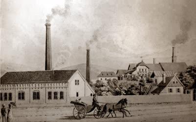 Műalkotás - Pécs - A Zsolnay Manufaktúrát ábrázoló régi