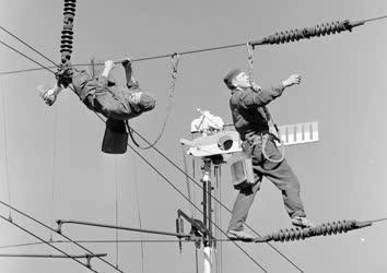 Ipar - Energiaipar - A füzesabonyi vasúti felsővezeték