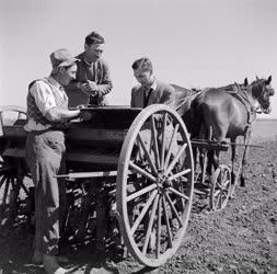 Mezőgazdaság - Ellenőrzik a vetőgépet