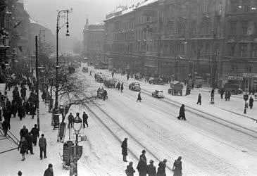 Városkép - Budapest - A Nagykörút télen