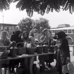 Kereskedelem - Tejárusok a szarvasi piacon